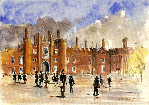 United Kingdom Painting - Hampton Court Palace London  by Juan  Bosco
