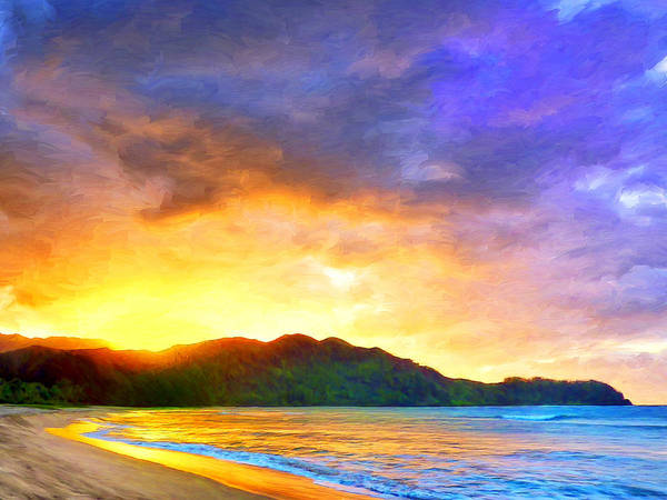 Kona Painting - Hanalei Sunset by Dominic Piperata