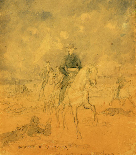Wall Art - Drawing - Hancock At Gettysburg, 1863 July 1-3, Drawing, 1862-1865 by Quint Lox