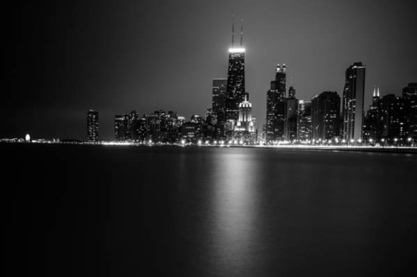 Michigan Ave Photograph - Hancock Building Reflection From North Ave Beach - Black And White by Anthony Doudt