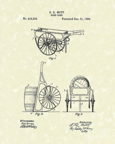 Cart Drawing - Hand Cart 1889 Patent Art by Prior Art Design