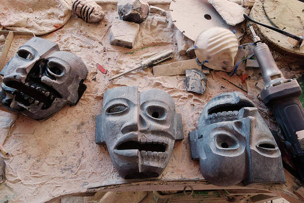 Workshop Photograph - Hand Carved Masks by Russell Monk