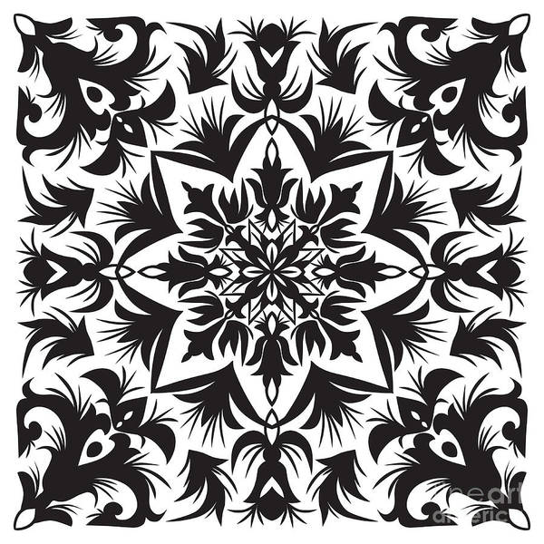 Decorative Digital Art - Hand Drawing Pattern For Tile In Black by Zinaida Zaiko
