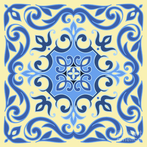 Decorative Digital Art - Hand Drawing Tile Pattern In  Blue And by Zinaida Zaiko