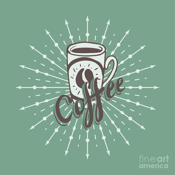 Wall Art - Digital Art - Hand Drawn Background With Coffee Mug by Ms Moloko