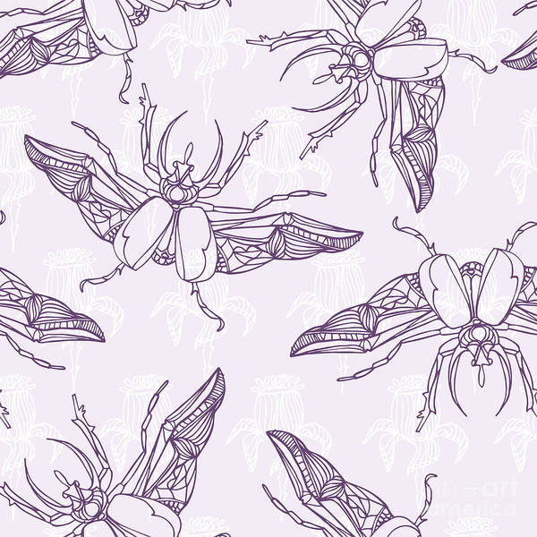 Natural Digital Art - Hand Drawn Beetles Seamless Pattern by Olga Donskaya