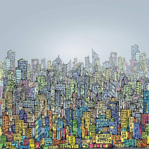 Pencil Drawing Digital Art - Hand Drawn City Skyline by Dahabian