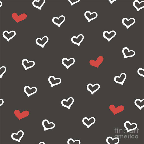 Valentines Digital Art - Hand Drawn Doodle Seamless Pattern With by Fafarumba
