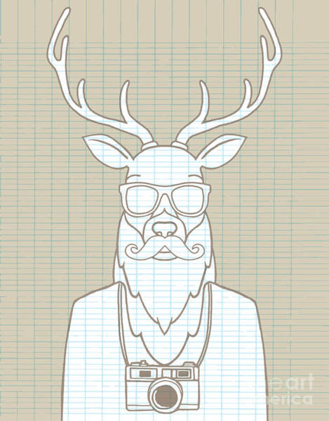 Wall Art - Digital Art - Hand Drawn Hipster Deer In Sunglasses by 9george