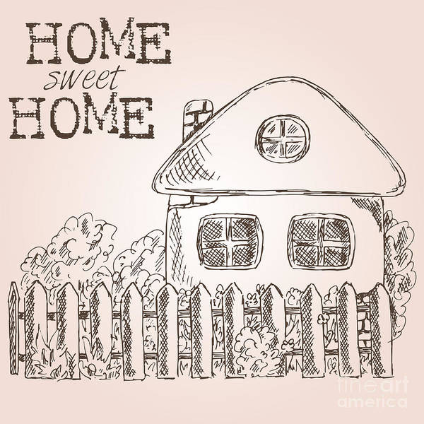 House Digital Art - Hand Drawn Ink Sketch Home. Village by Valerie Bo