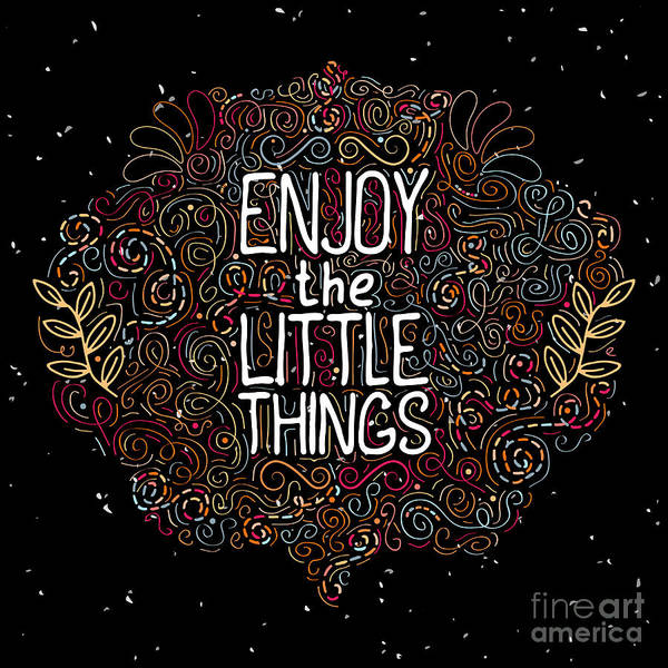Typographic Wall Art - Digital Art - Hand Drawn Label With Phrase Enjoy The by Vitalka ka