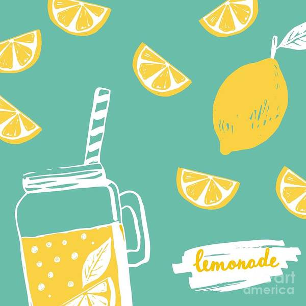 Natural Digital Art - Hand Drawn Lemonade by Nadezda Barkova