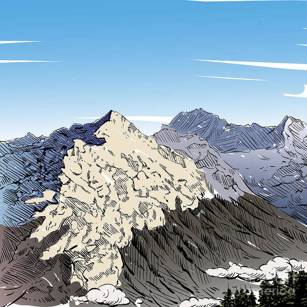 Snow Digital Art - Hand Drawn Mountain Backgrounds, Vector by Romanya
