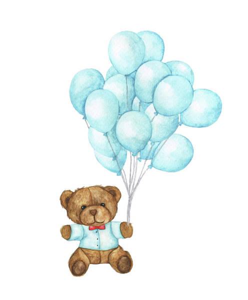 Digital Art - Hand Drawn Watercolor Of Teddy Bear by Khaneeros