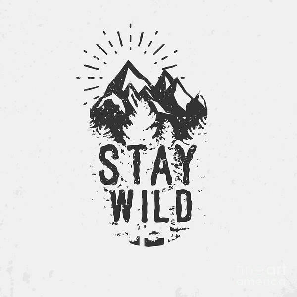 Typographic Wall Art - Digital Art - Hand Drawn Wilderness Quote, Outdoor by Seveniwe