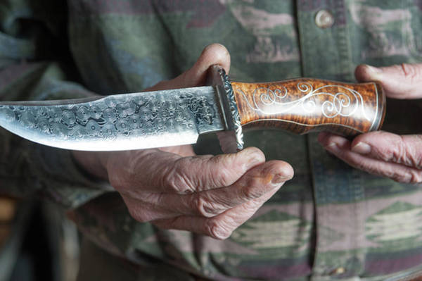 Damascus Photograph - Hand-forged Blades, Knives by Edwin Remsberg
