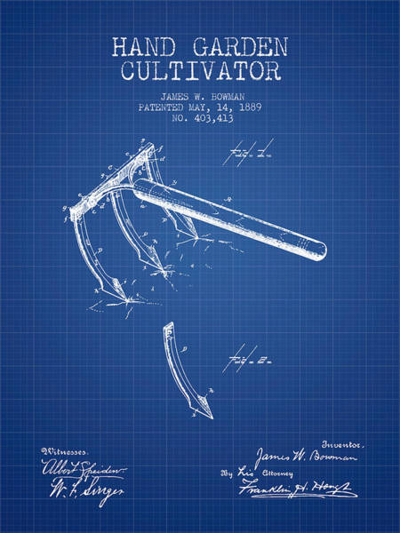Agriculture Digital Art - Hand Garden Cultivator Patent From 1889 - Blueprint by Aged Pixel