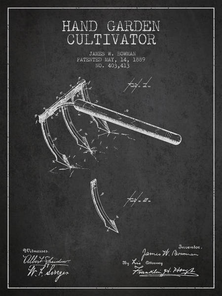 Agriculture Digital Art - Hand Garden Cultivator Patent From 1889 - Dark by Aged Pixel