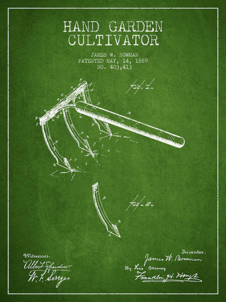 Agriculture Digital Art - Hand Garden Cultivator Patent From 1889 - Green by Aged Pixel