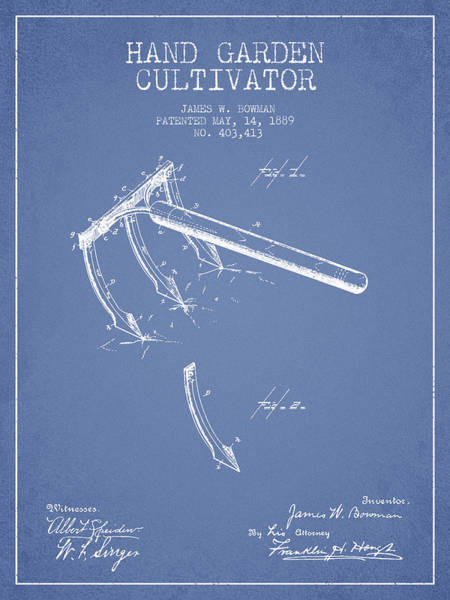 Agriculture Digital Art - Hand Garden Cultivator Patent From 1889 - Light Blue by Aged Pixel
