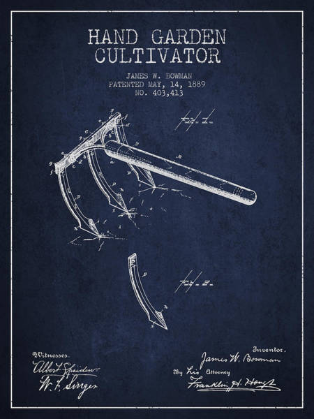 Agriculture Digital Art - Hand Garden Cultivator Patent From 1889 - Navy Blue by Aged Pixel