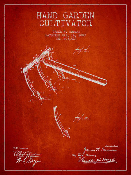 Agriculture Digital Art - Hand Garden Cultivator Patent From 1889 - Red by Aged Pixel