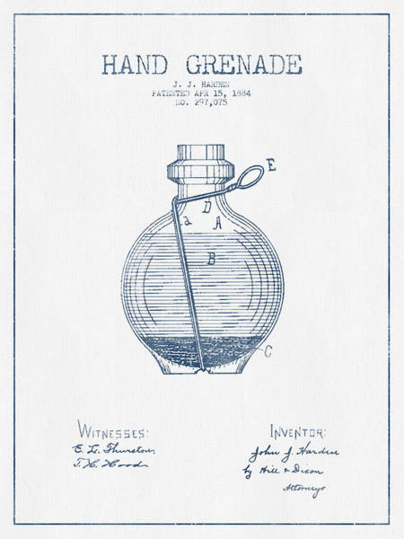 Grenade Wall Art - Digital Art - Hand Grenade Patent Drawing From 1884- Blue Ink by Aged Pixel