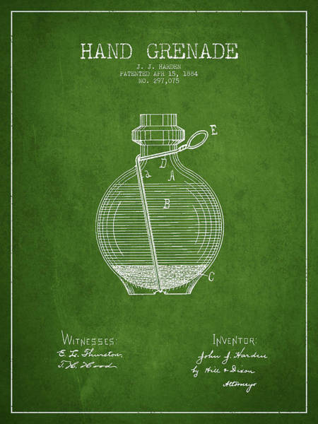 Grenade Wall Art - Digital Art - Hand Grenade Patent Drawing From 1884 - Green by Aged Pixel
