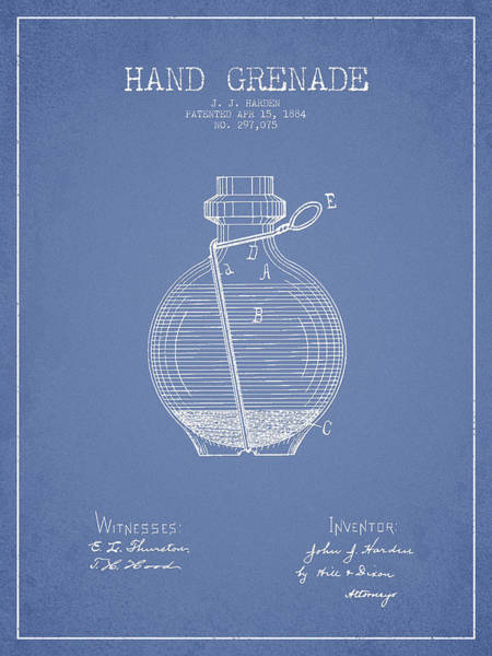 Grenade Wall Art - Digital Art - Hand Grenade Patent Drawing From 1884 - Light Blue by Aged Pixel