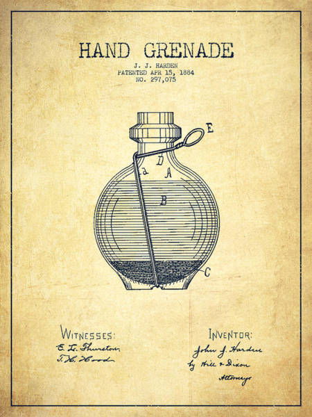 Grenade Wall Art - Digital Art - Hand Grenade Patent Drawing From 1884 - Vintage by Aged Pixel