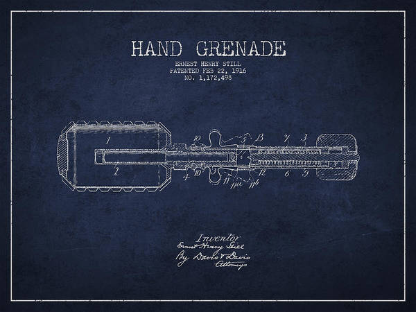 Grenade Wall Art - Digital Art - Hand Grenade Patent Drawing From 1916 by Aged Pixel
