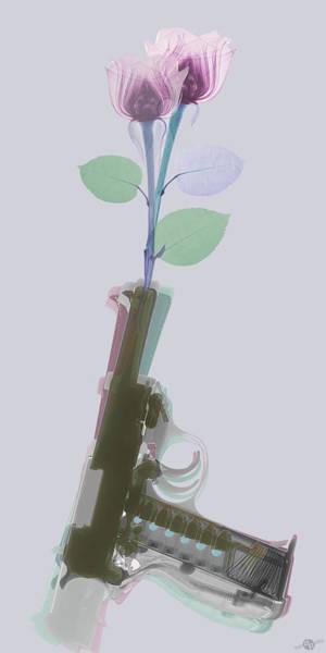 Photograph - Hand Gun And Flower X-ray 3 by Tony Rubino