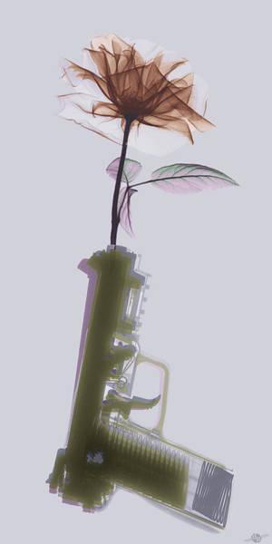 Guns And Roses Wall Art - Photograph - Hand Gun And Flower X-ray Series 2 by Tony Rubino