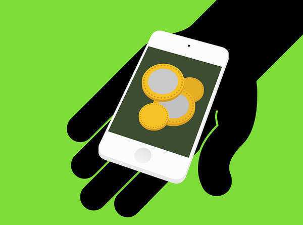 Wall Art - Photograph - Hand Holding Smart Phone With Coins by Ikon Images