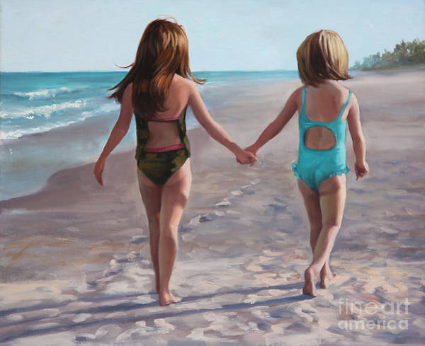 Girlfriend Painting - Hand In Hand  by Laurie Snow Hein