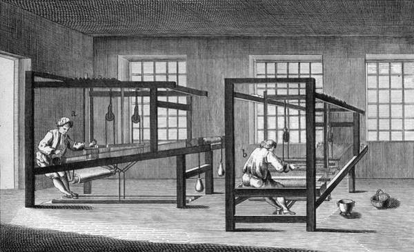 Wall Art - Drawing - Hand-loom Weaving In  18th Century by Mary Evans Picture Library