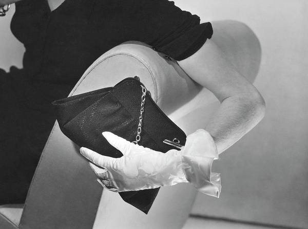 Body Parts Photograph - Hand Of A Model Wearing Moire Gloves by Horst P. Horst