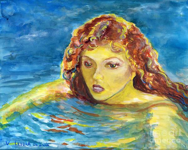 Hand Painted Art Adult Female Swimmer Art Print
