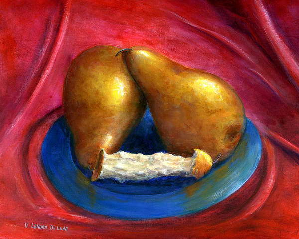 Painting - Hand Painted Art Fruit Still Life Pears by Lenora  De Lude