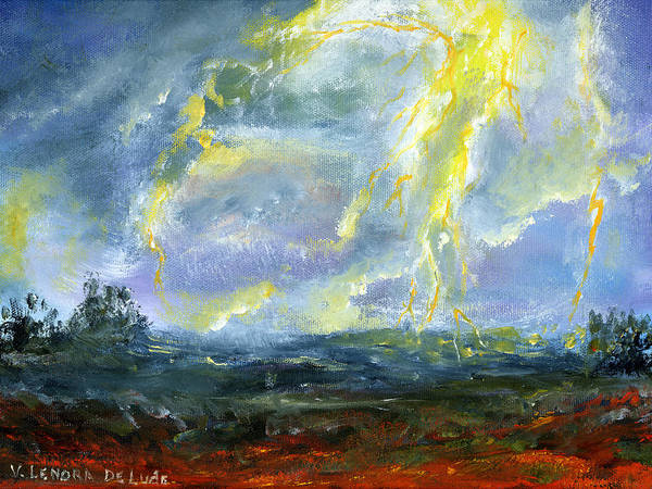 Painting - Hand Painted Art Louisiana Storm by Lenora  De Lude
