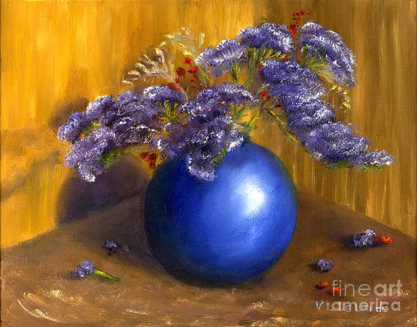Painting - Hand Painted Still Life Blue Vase Purple Flowers by Lenora  De Lude