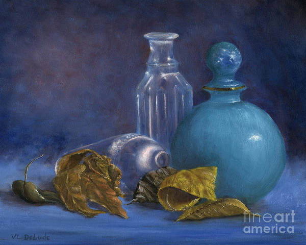 Painting - Hand Painted Still Life Bottles Leaves by Lenora  De Lude