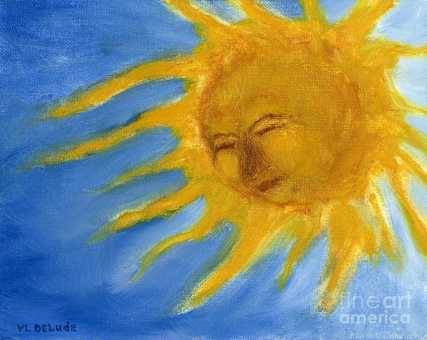 Painting - Hand Painted Sun Face Old Sol by Lenora  De Lude