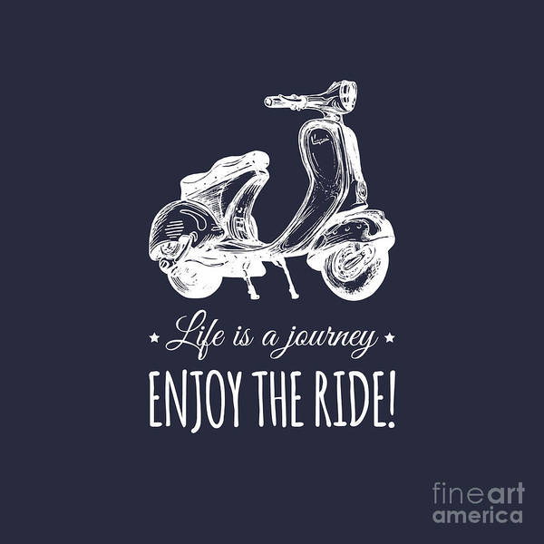 Typographic Wall Art - Digital Art - Hand Sketched Scooter Banner With by Vlada Young