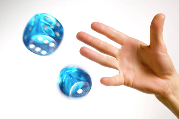 Throwing Wall Art - Photograph - Hand Throwing Dice by Daniel Sambraus, Thomas Luddington/science Photo Library