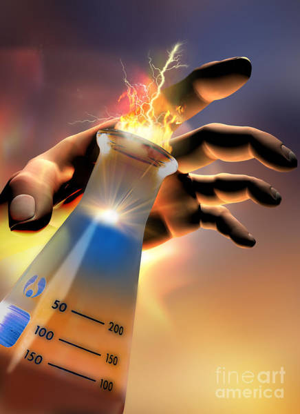 Photograph - Hand With Beaker And Flash by Mike Agliolo