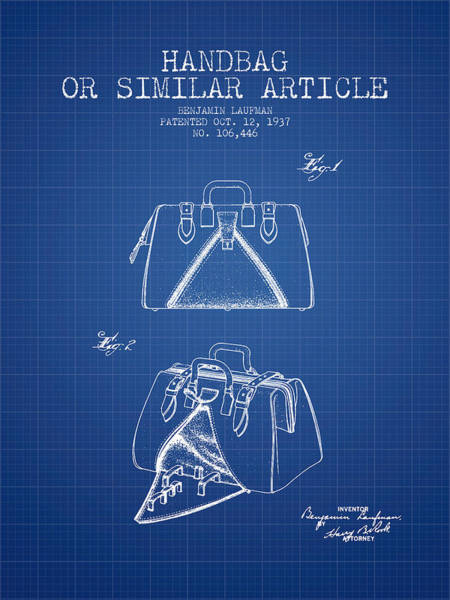 Pouch Wall Art - Digital Art - Handbag Or Similar Article Patent From 1937 - Blueprint by Aged Pixel
