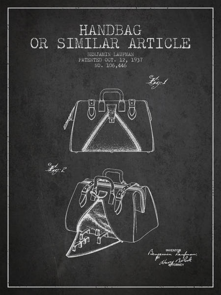 Handbags Wall Art - Digital Art - Handbag Or Similar Article Patent From 1937 - Charcoal by Aged Pixel