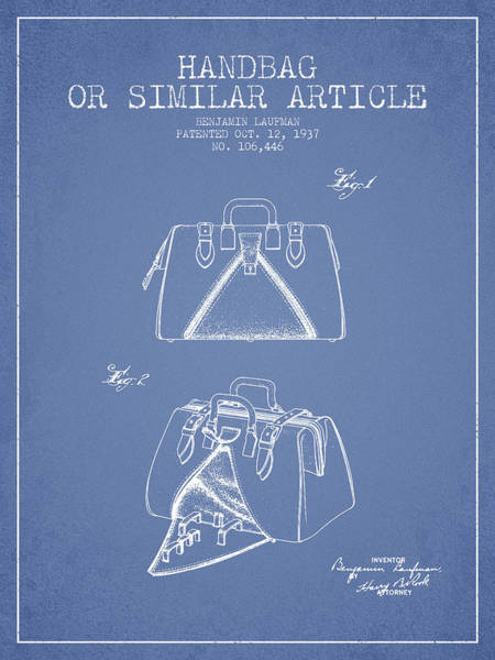 Pouch Wall Art - Digital Art - Handbag Or Similar Article Patent From 1937 - Light Blue by Aged Pixel