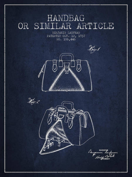 Pouch Wall Art - Digital Art - Handbag Or Similar Article Patent From 1937 - Navy Blue by Aged Pixel